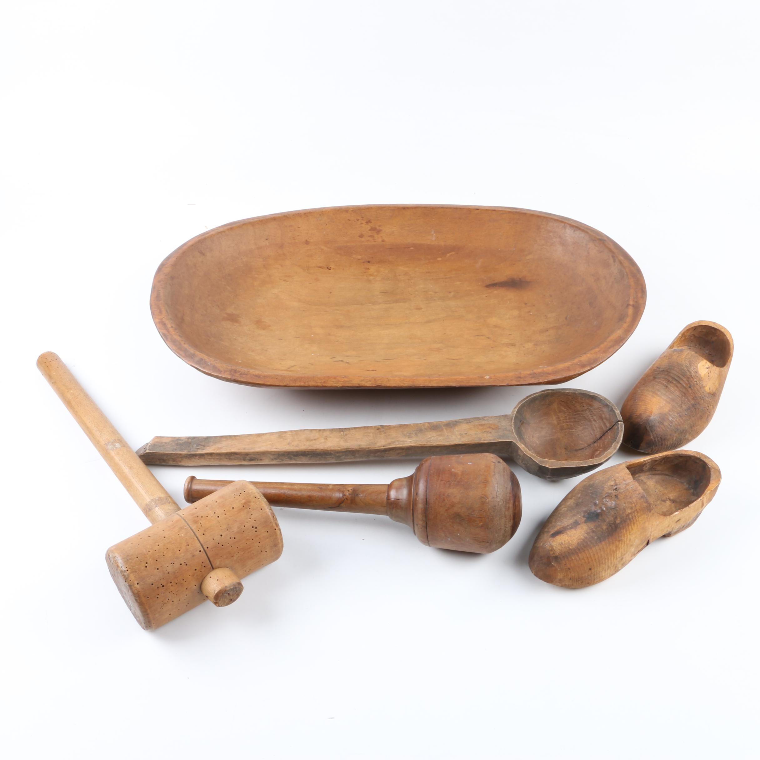 Vintage Wooden Dough Bowl, Mallet, Pestle, Ladle and Shoes