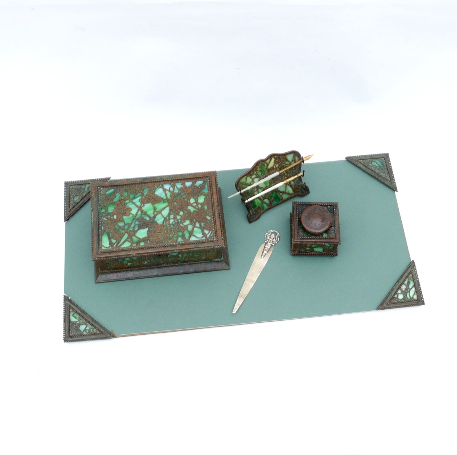 Tiffany Studios Glass and Bronze Desk Set