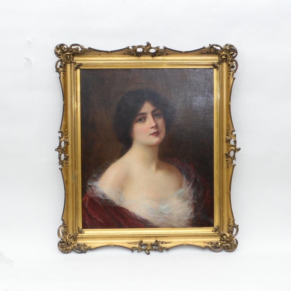 Abbey Altson Antique Victorian Oil Portrait on Canvas
