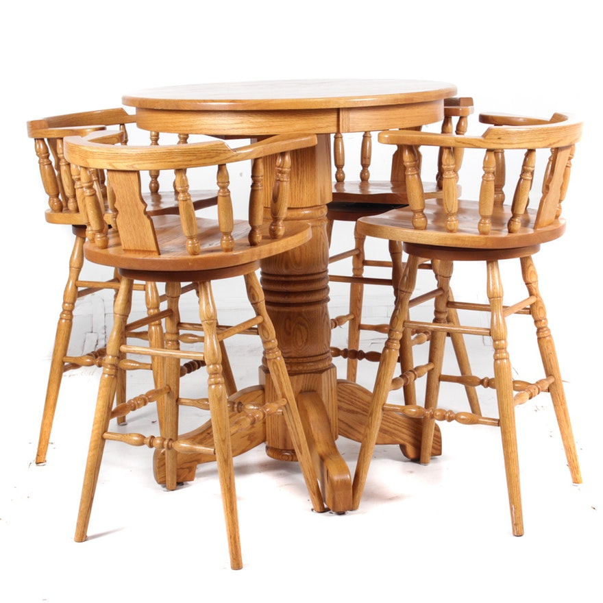 Oak Bar Table And Chairs