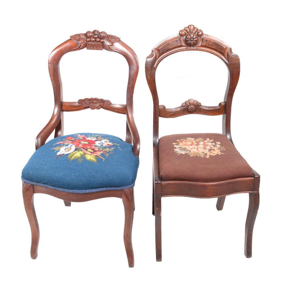 Duncan Phyfe Needlepoint Upholstered Chairs