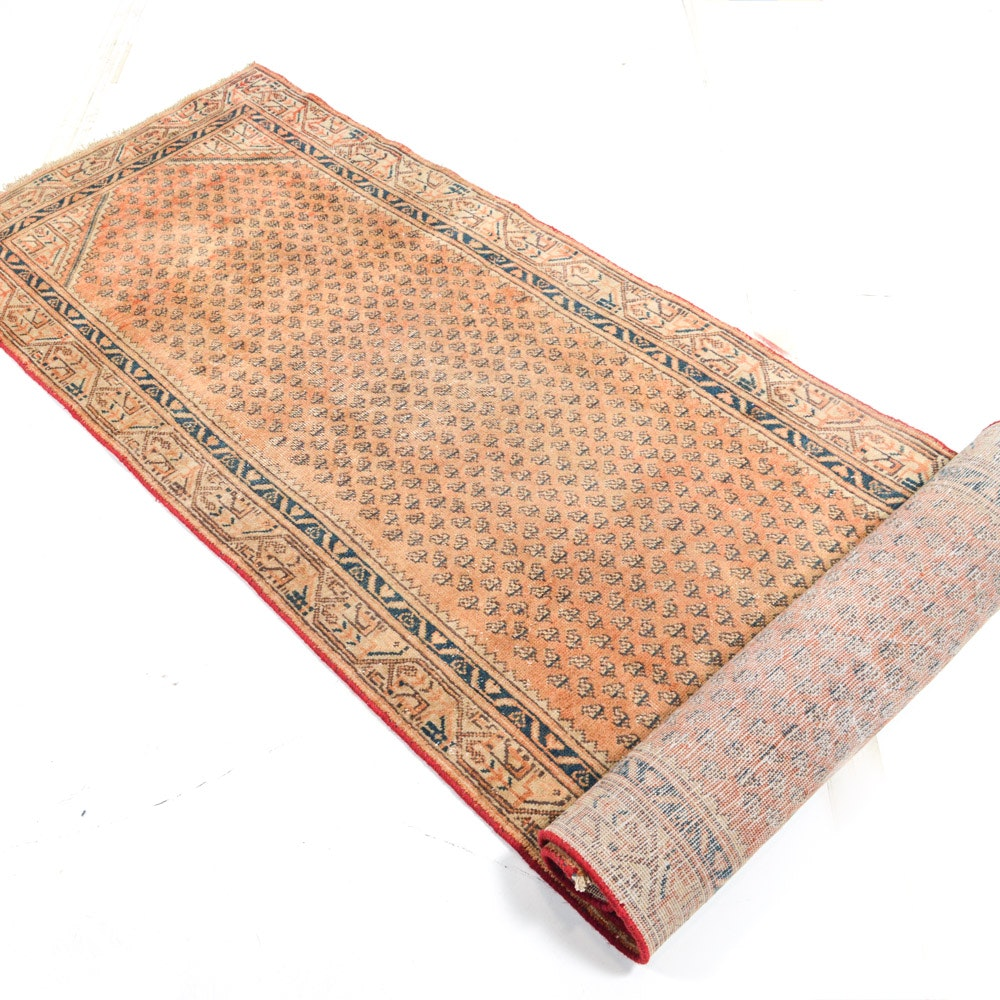 Vintage Hand-Knotted Persian Boteh Sarouk Runner