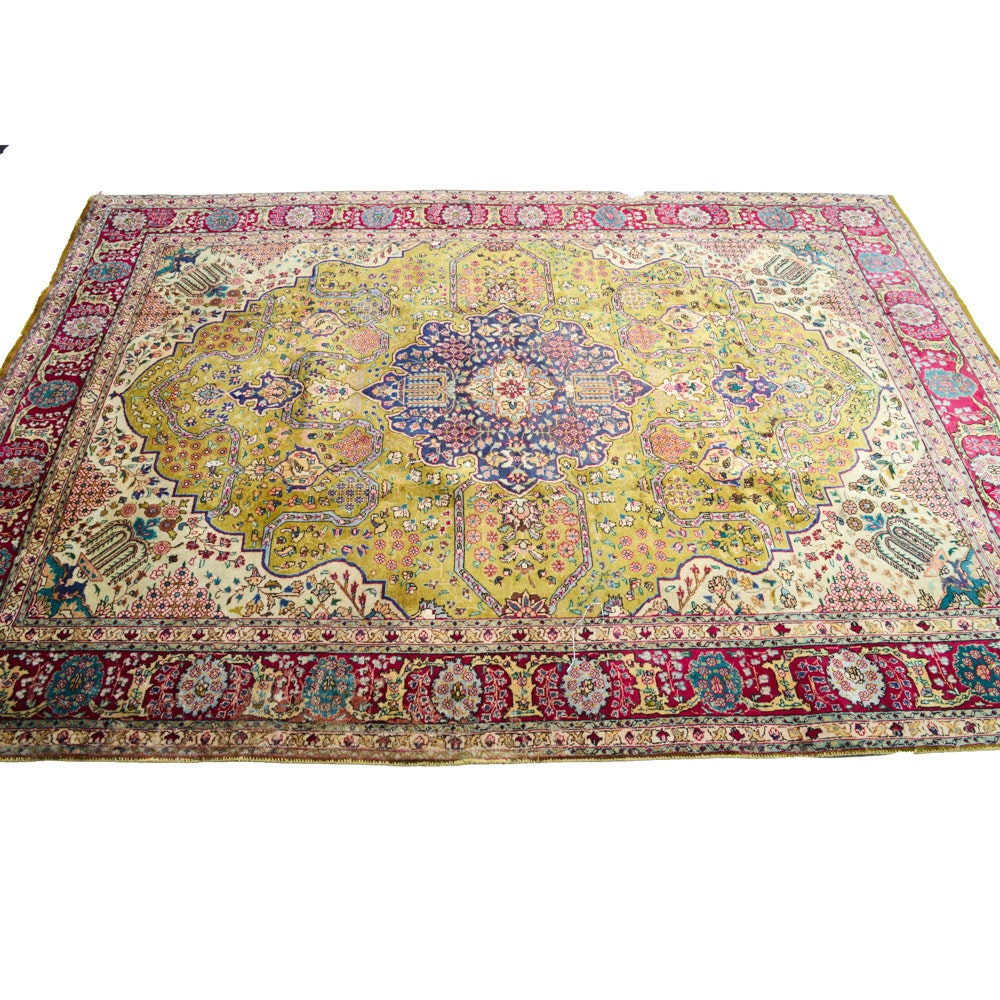 Vintage Hand-Knotted Persian Qum Wool and Silk Blend Rug