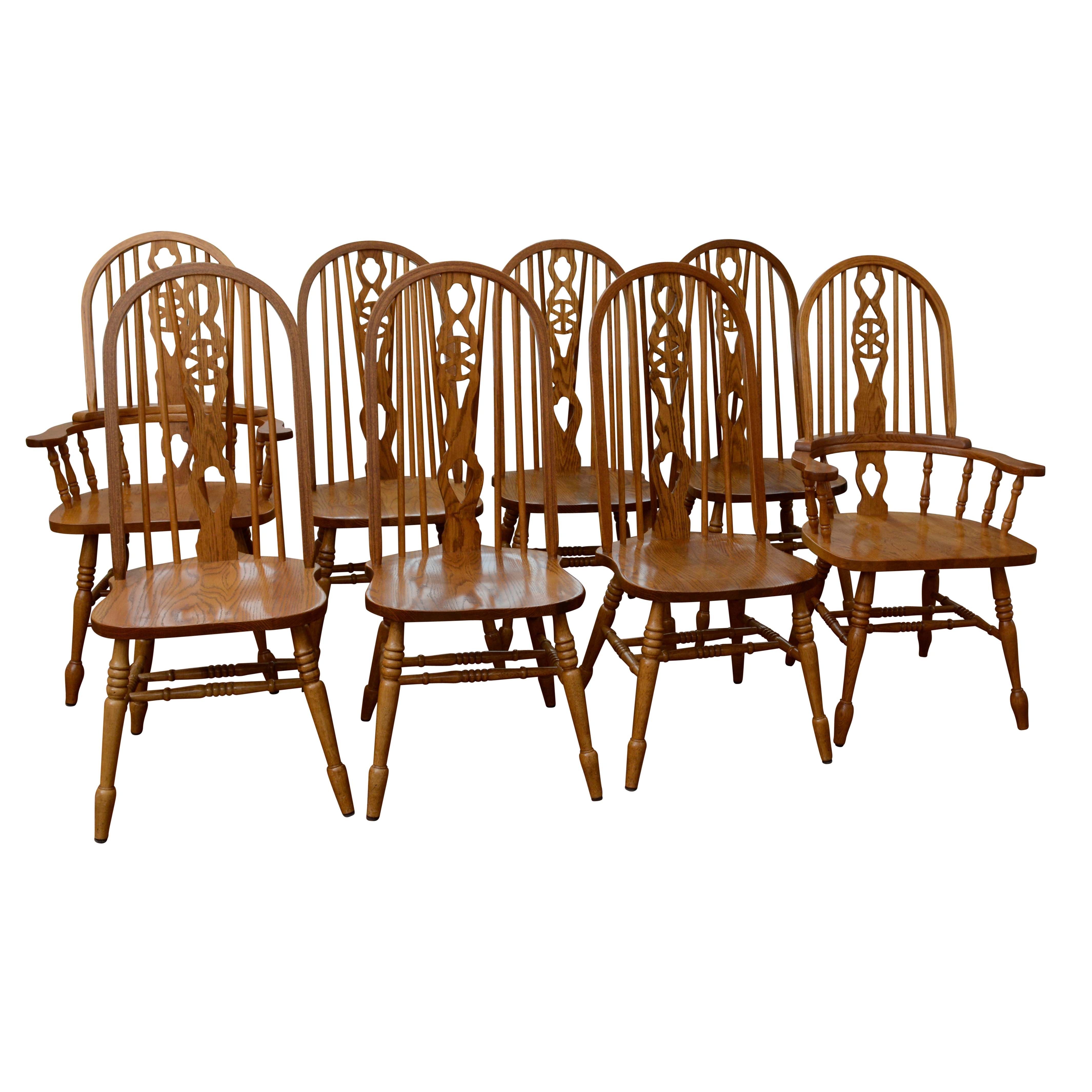 Pierced Splat Spindle Back Dining Chairs