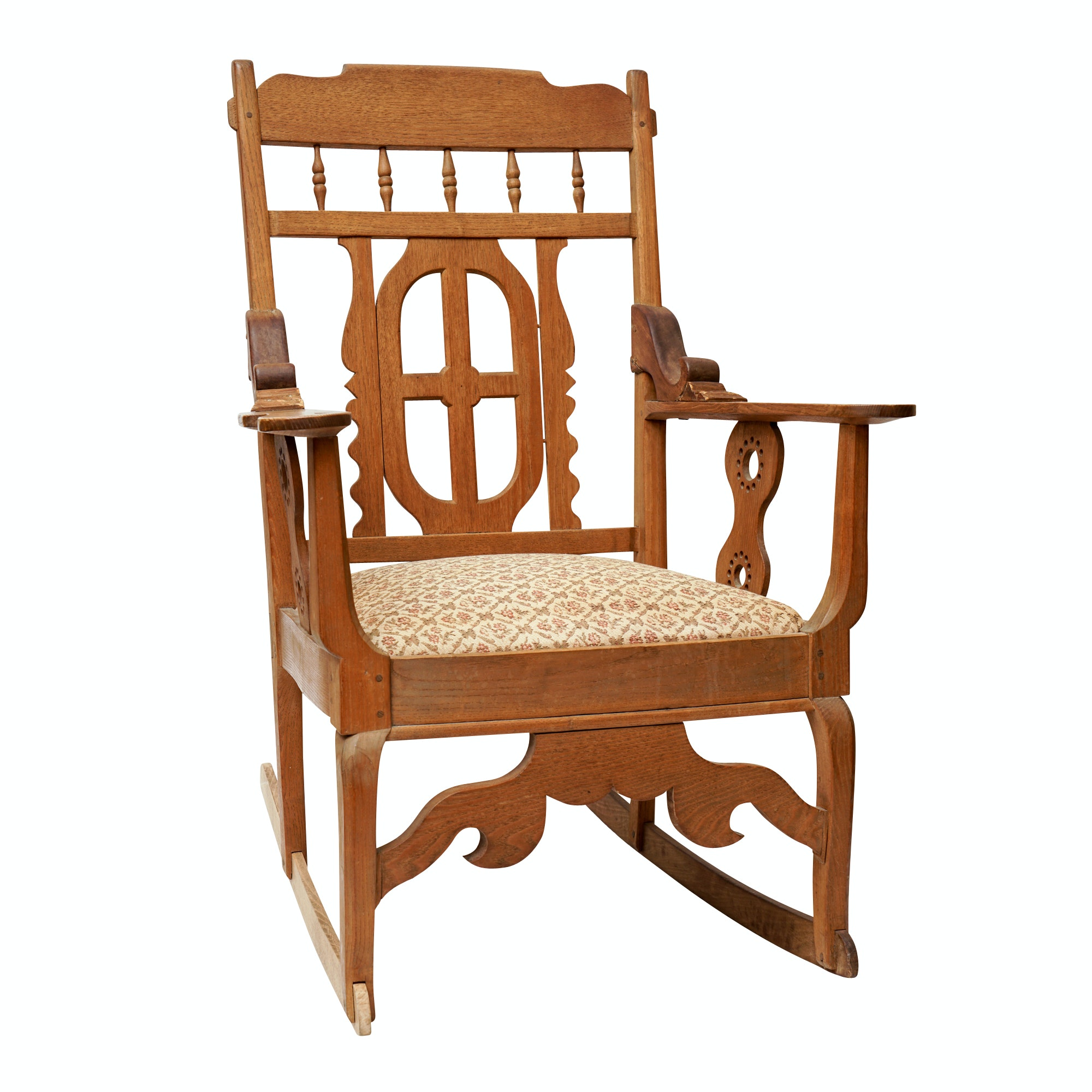 Antique Arts and Crafts Oak Rocking Chair