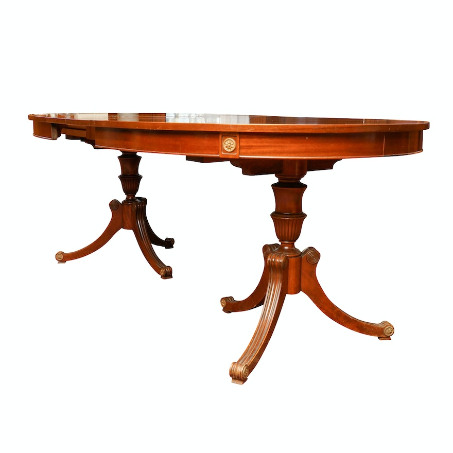 Vintage Regency Style Double Pedestal Dining Table By R Way Furniture
