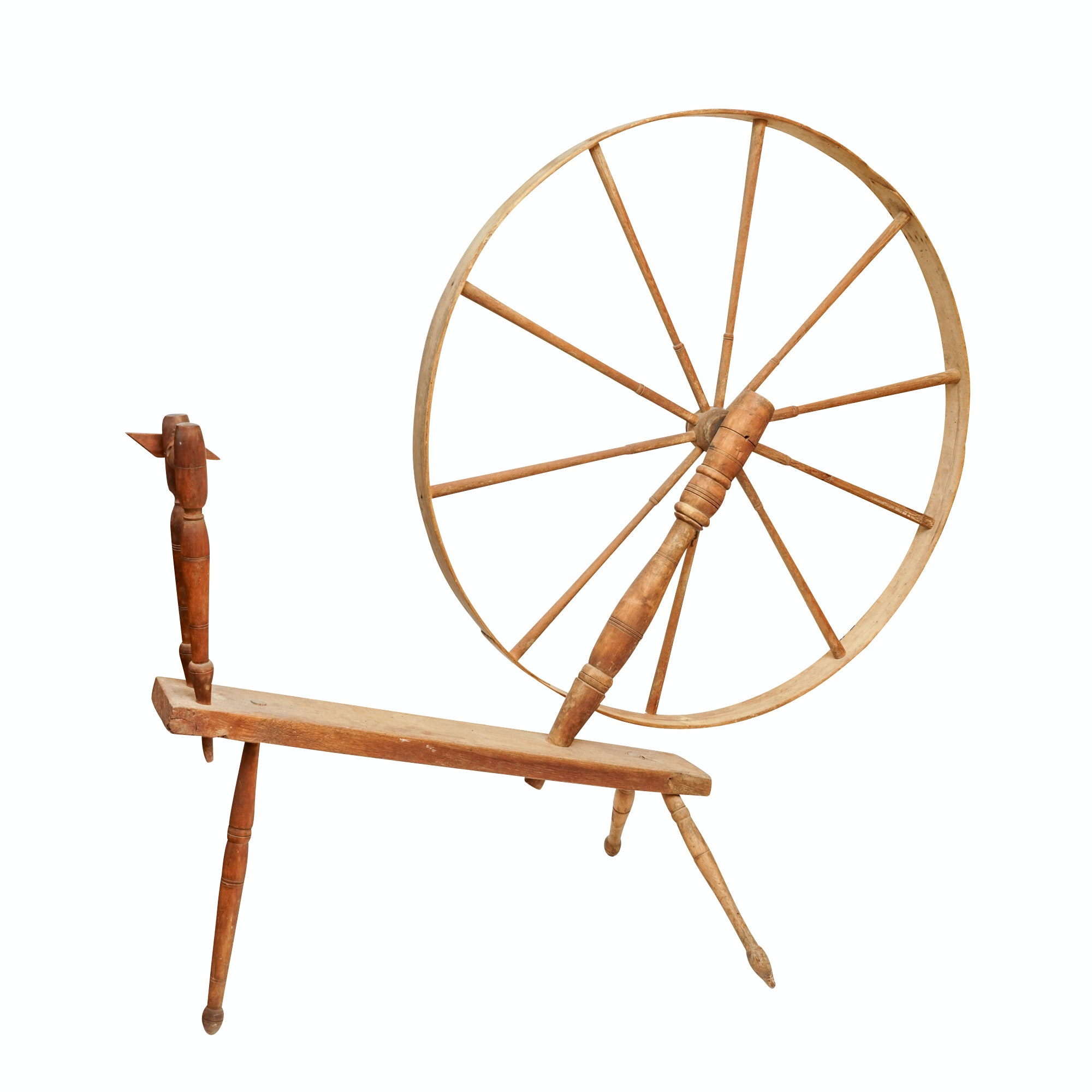Antique Wood Spinning Wheel