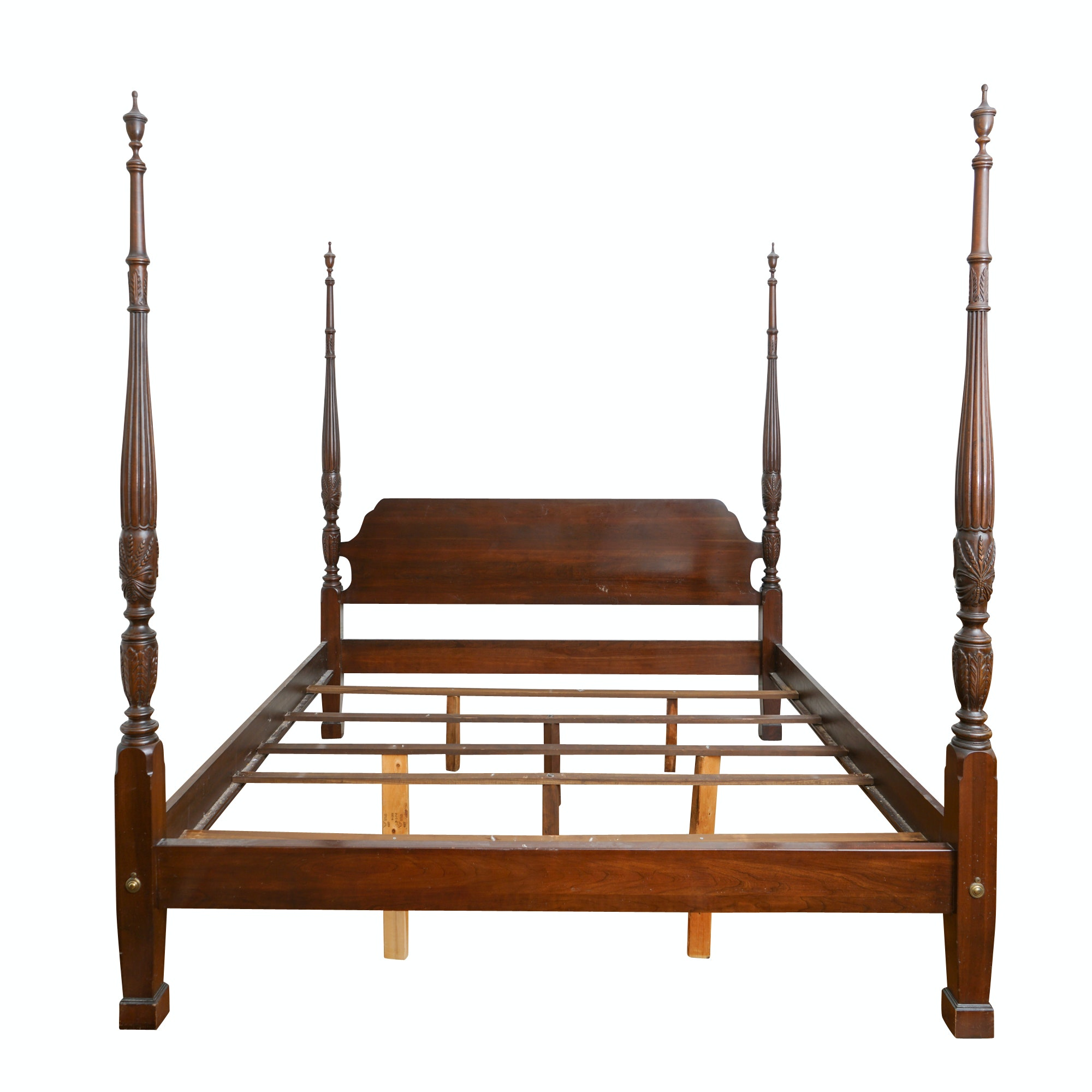 Vintage Neoclassical Mahogany Four Poster Bed Frame