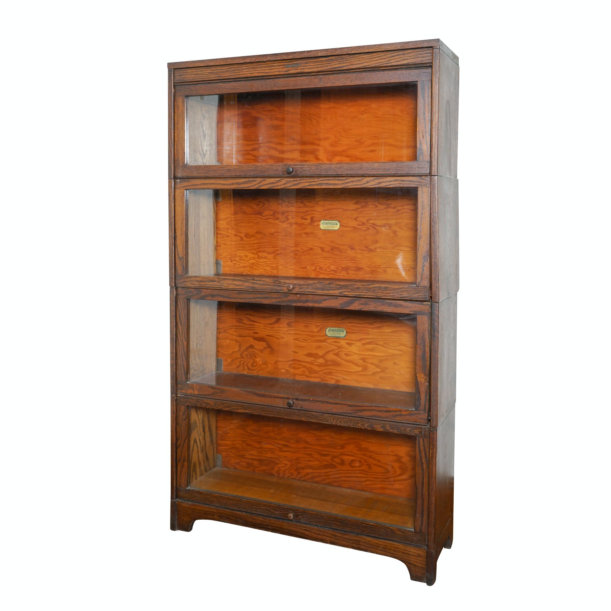 Vintage Oak Barrister Bookcase by Lundstrom