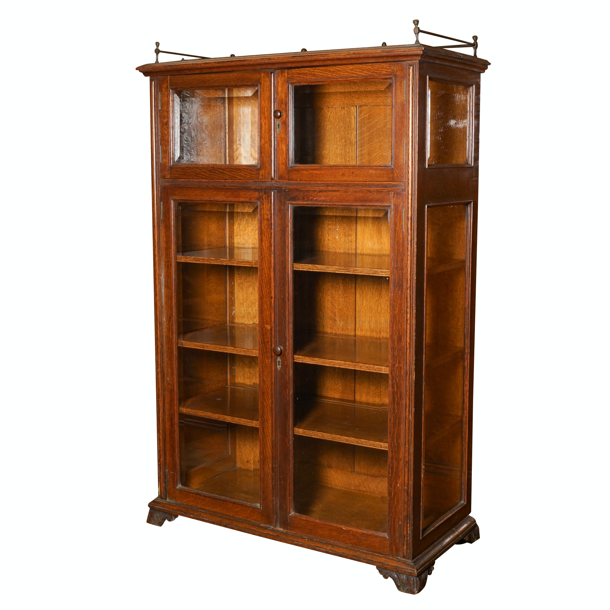Antique Oak English Display Cabinet