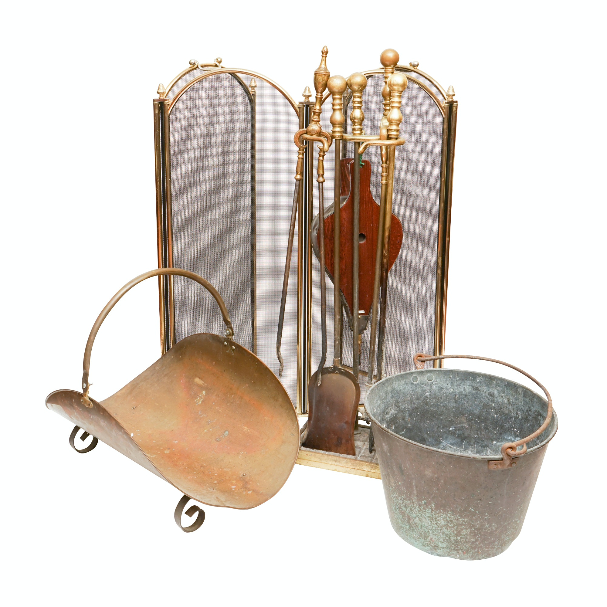 Vintage Brass Fireplace Tool Set Log Holder And Fireplace Screen