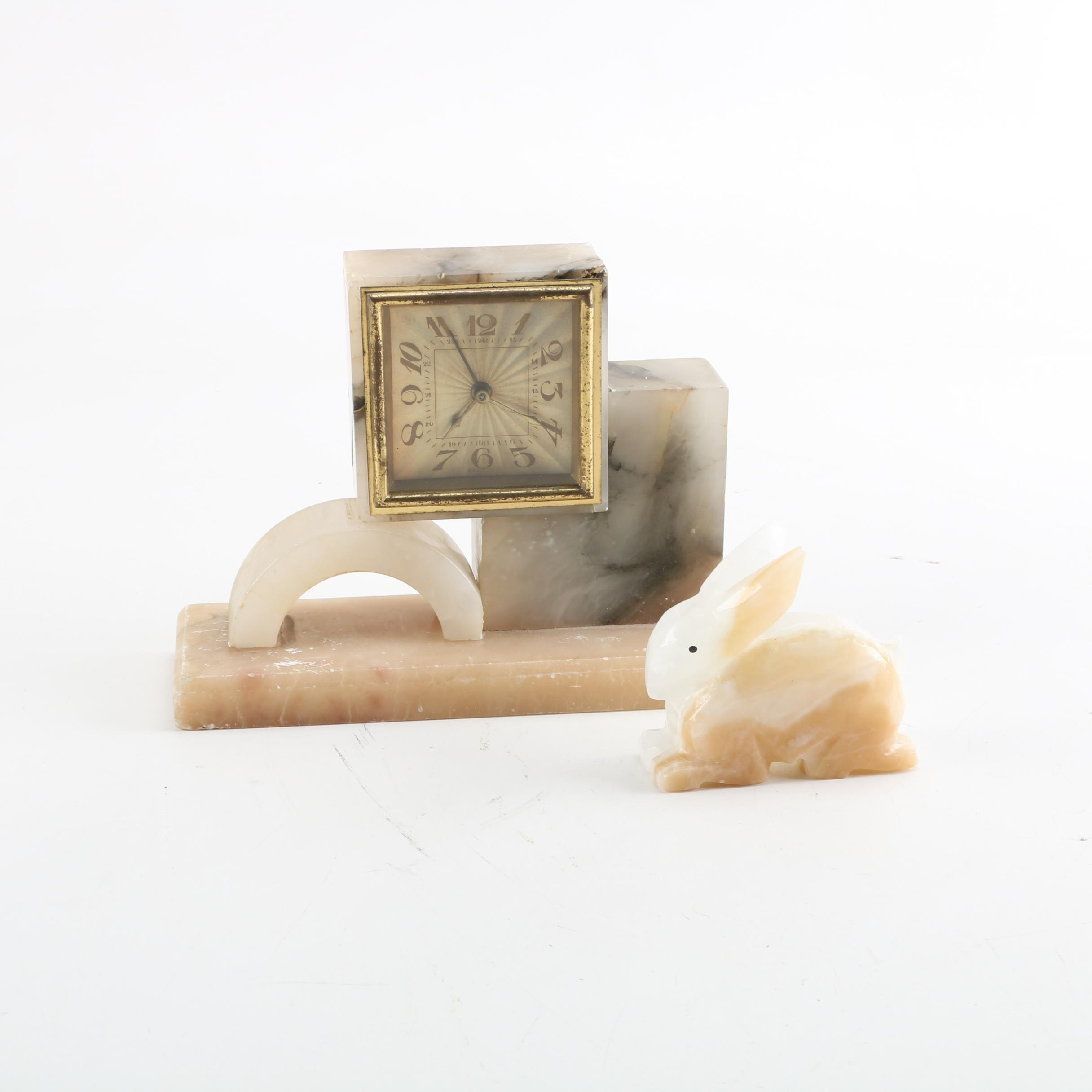 Mid Century Alabaster and Banded Calcite Clock and Bunny Figurine