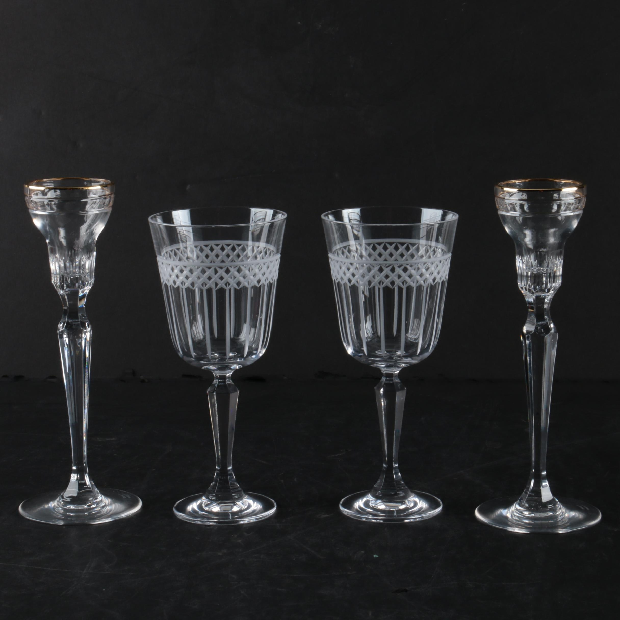 "Marquis by Waterford Crystal Goblets and ""Hanover Gold"" Candle Holders"