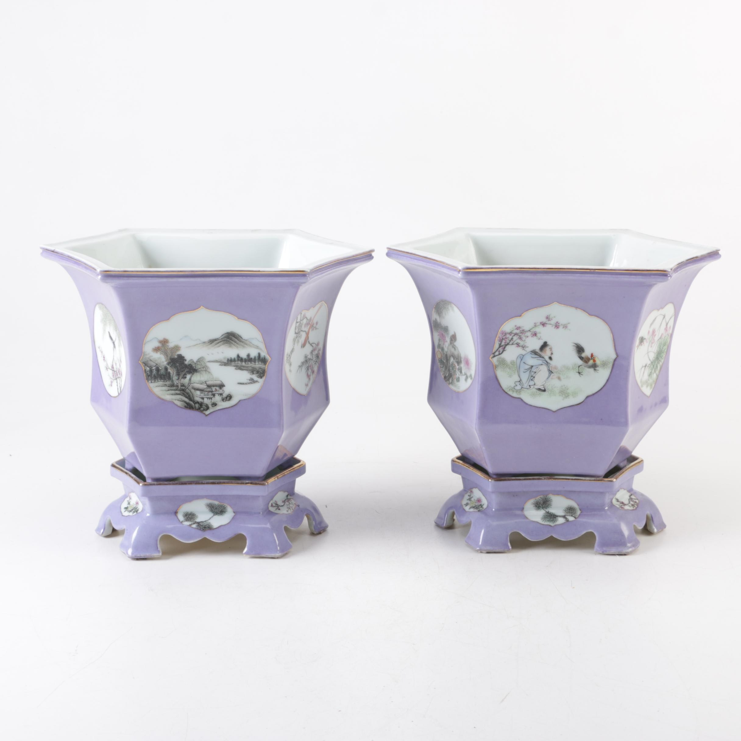 Asian Inspired Purple Hexagon Porcelain Planters On Stands