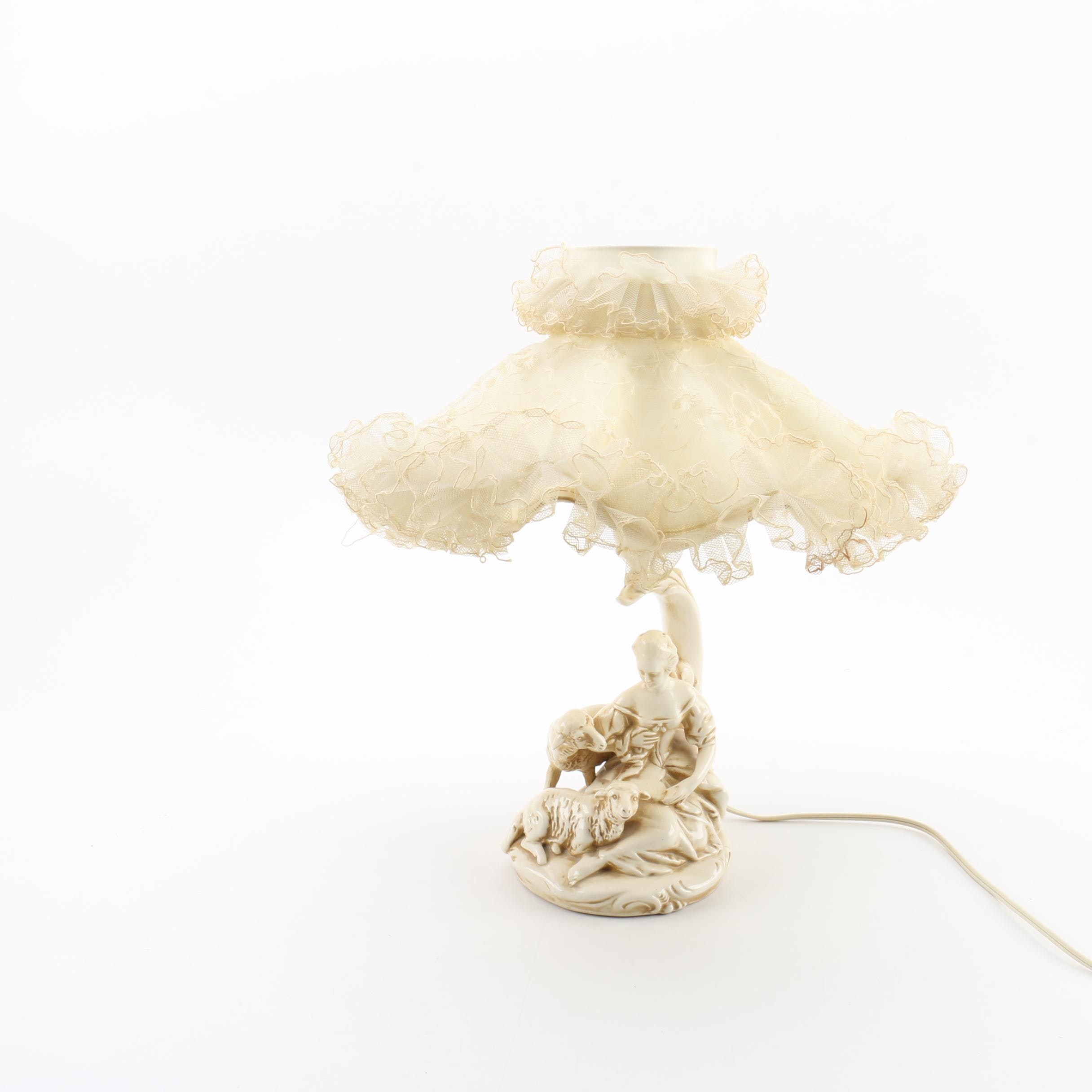 Vintage Figurine Table Lamp Including Ruffled Lace Shade