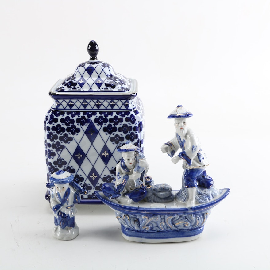 Blue And White Cookie Jar Chinese Figurines