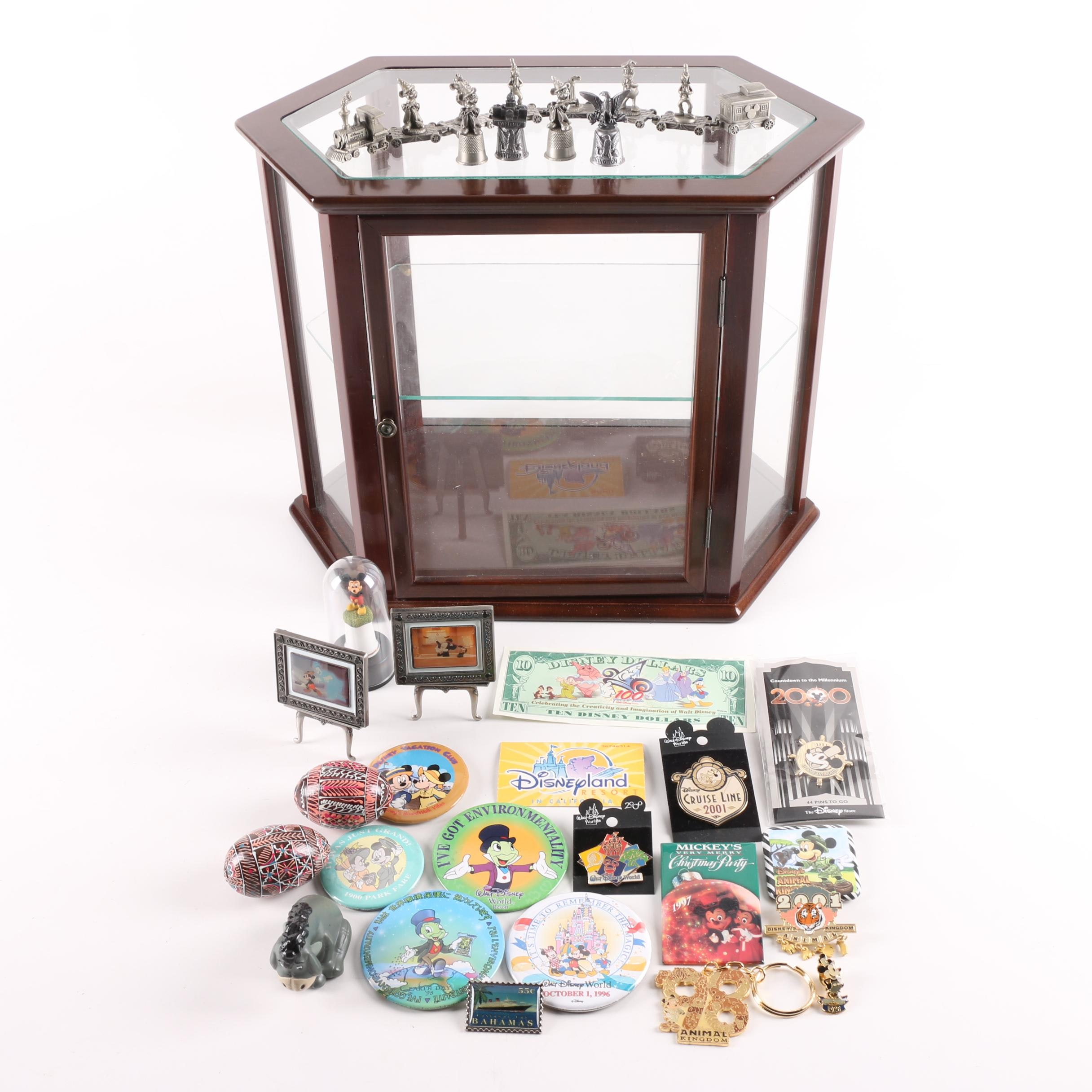 Display Cabinet with Disney and Other Collectibles