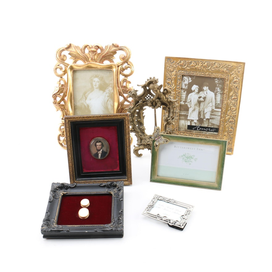Miniature Oil Portrait of a Gentleman and Small Decorative Frames : EBTH