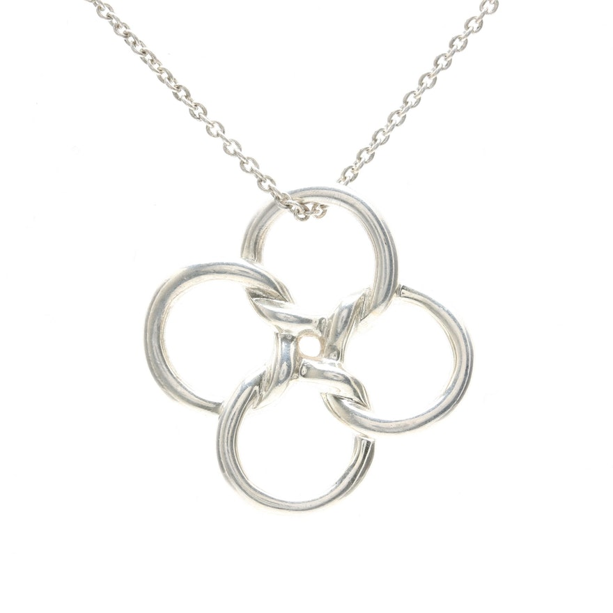Elsa peretti for tiffany co sterling silver quadrifoglio elsa peretti for tiffany co sterling silver quadrifoglio pendant necklace mozeypictures Gallery