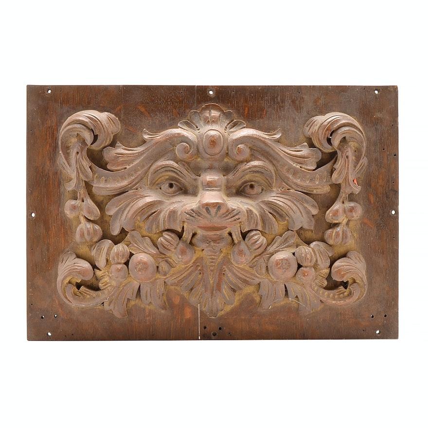 Antique oak green man relief carving circa ebth