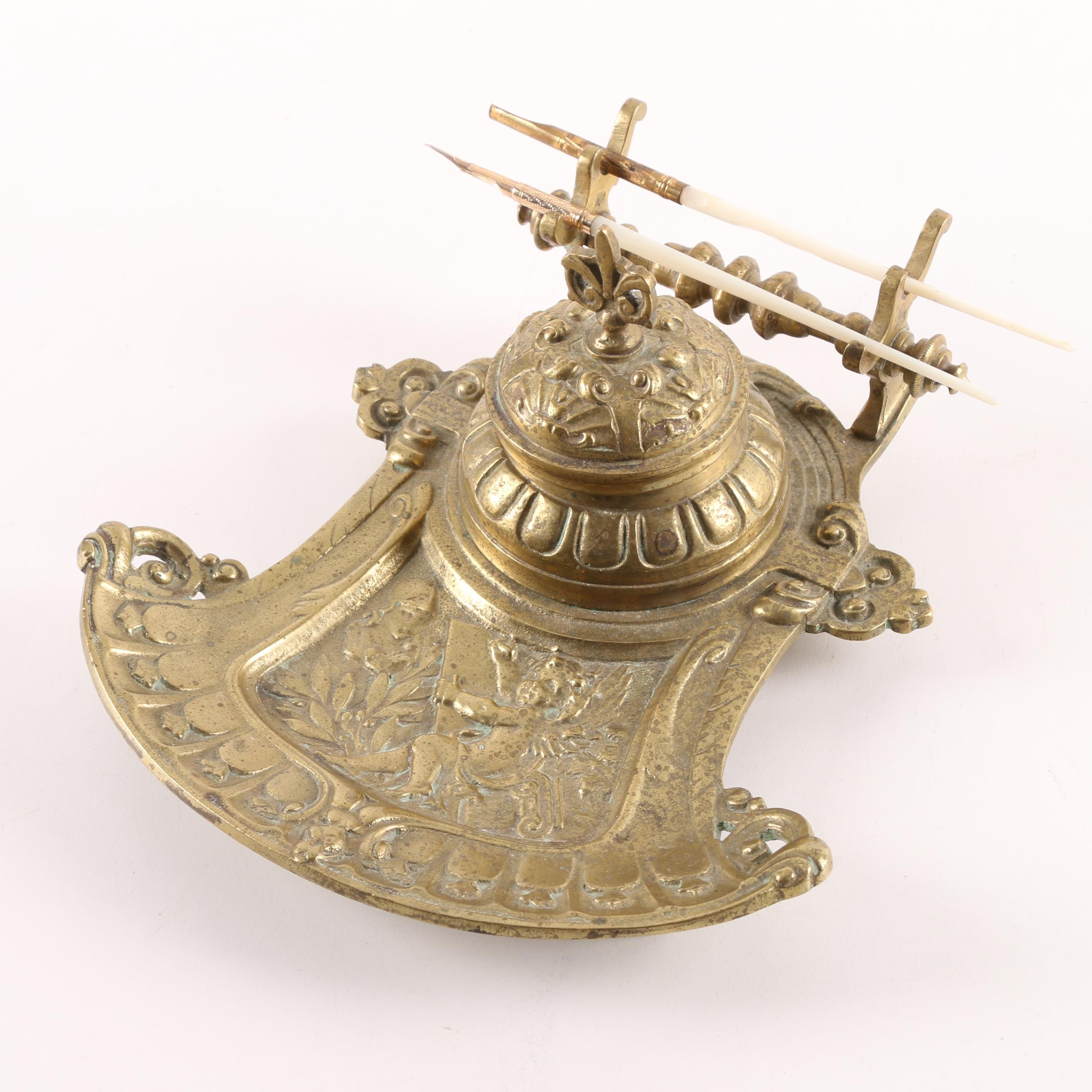 Antique Ornate Brass Inkwell with Mother of Pearl Dip Pens