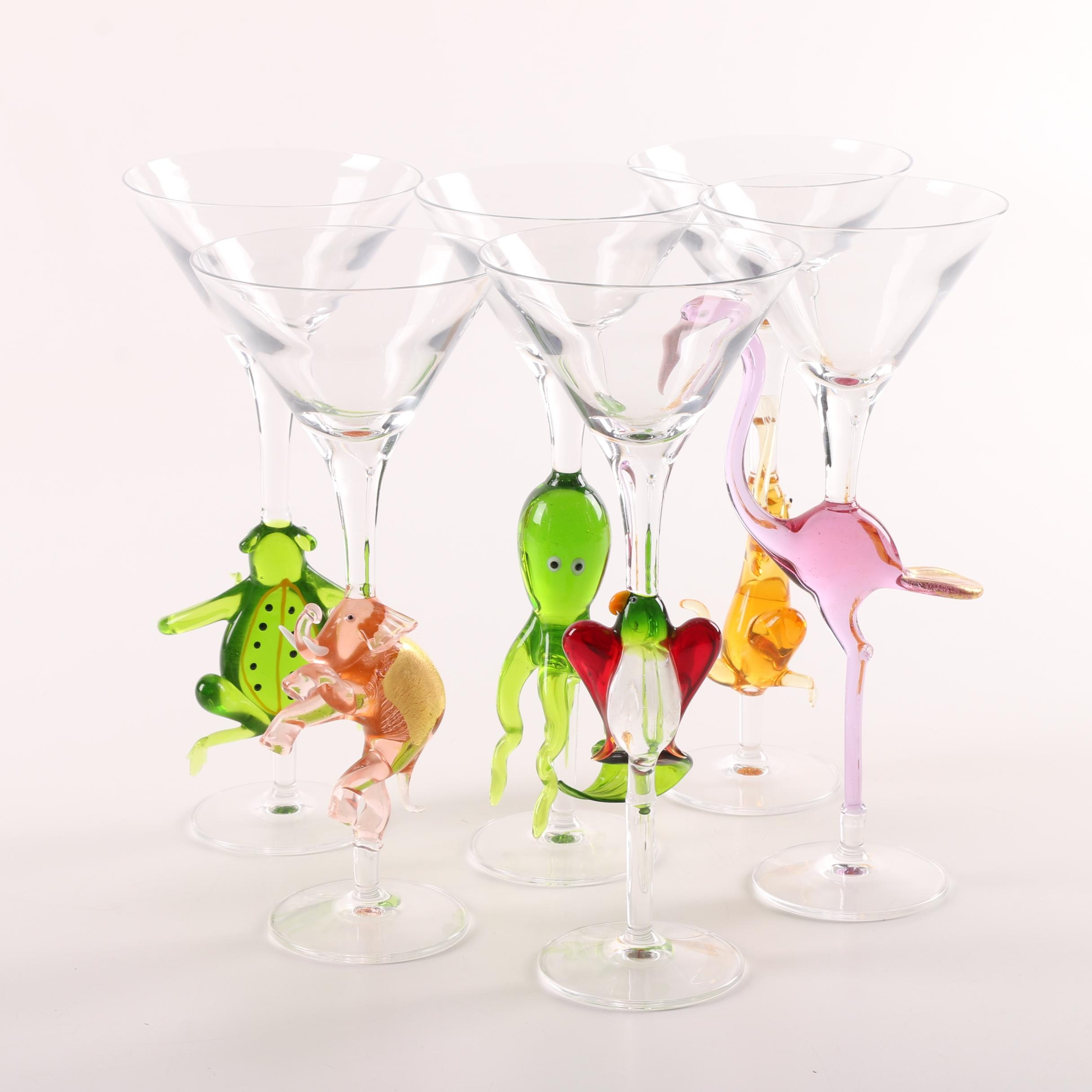 Martini Glasses with Animal Shaped Stems