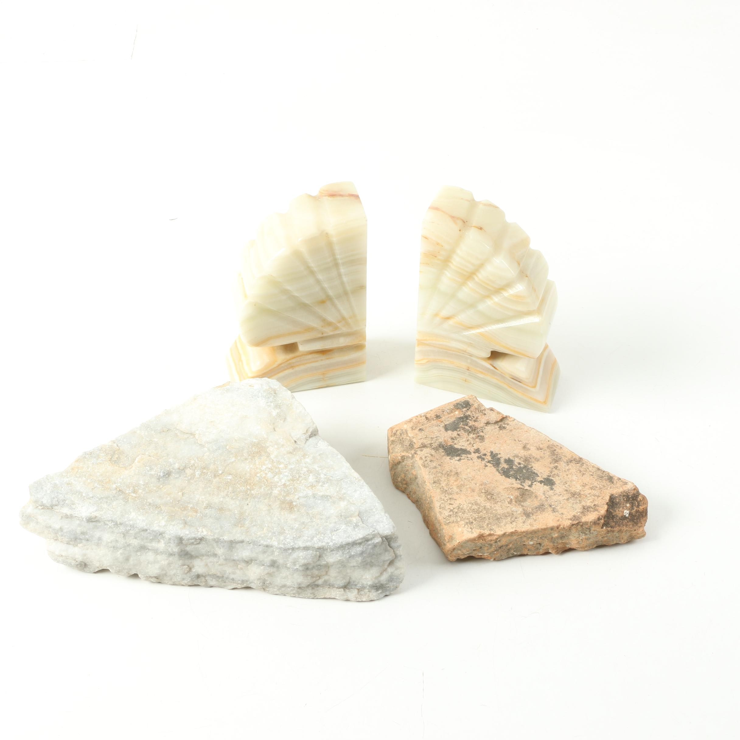 Banded Calcite Bookends and Rock Slabs