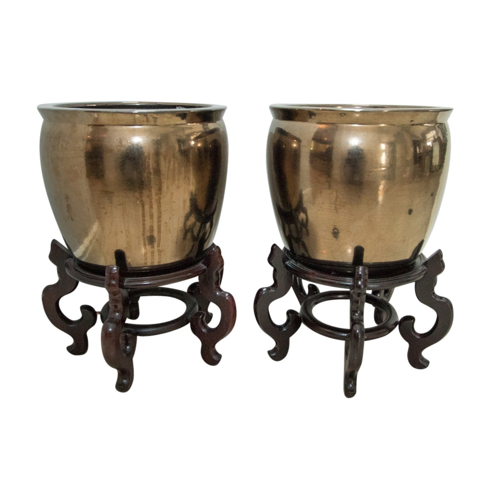 Large Brass Toned Metal Planters