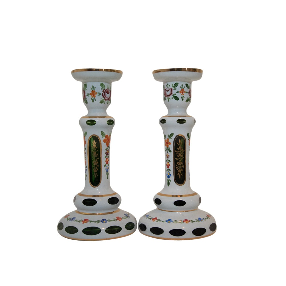 Lausitzer Glas Hand-Blown Cased Crystal Candlesticks