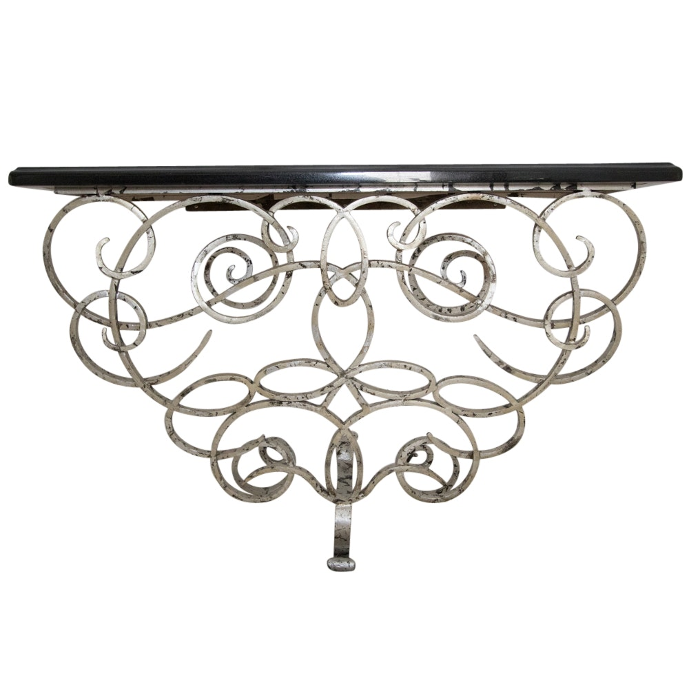 Contemporary Metal Base Console Table