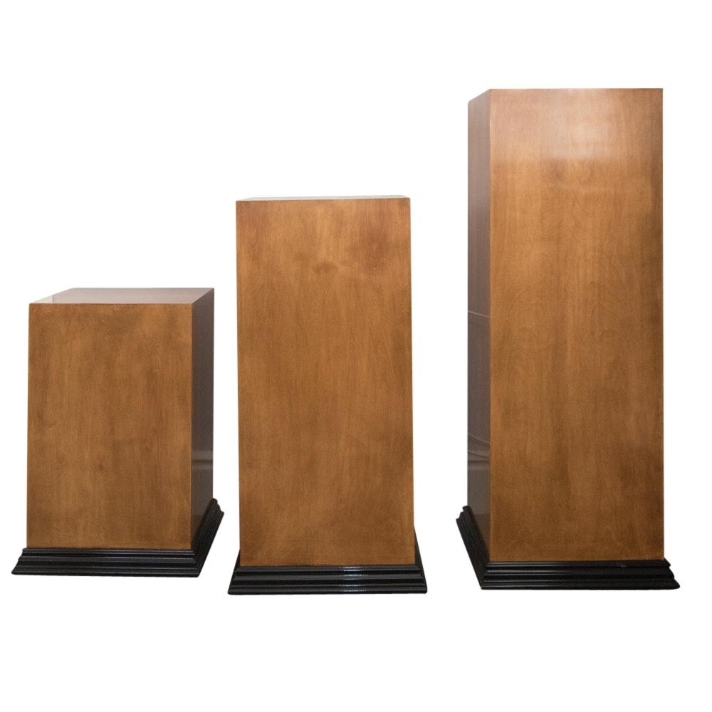 Set of Three Wood Display Pillars