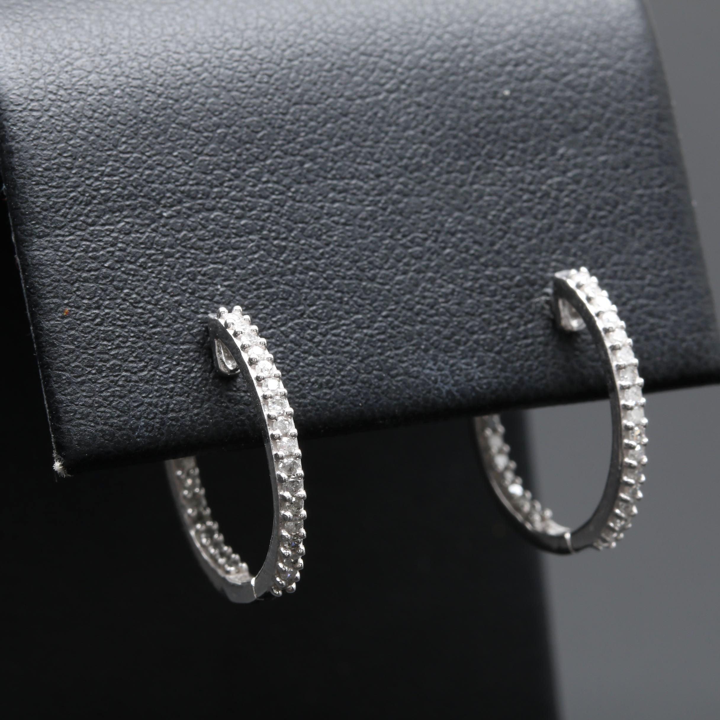 10K White Gold Diamond Inside Out Huggie Earrings