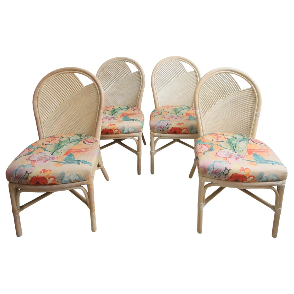 Set of Four Vintage Rattan Dining Chairs