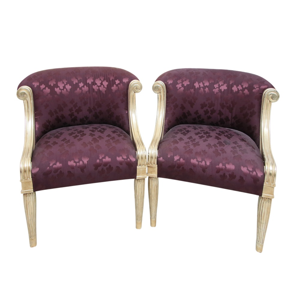 Two Vallois Armchairs by J. Robert Scott with Silk Upholstery
