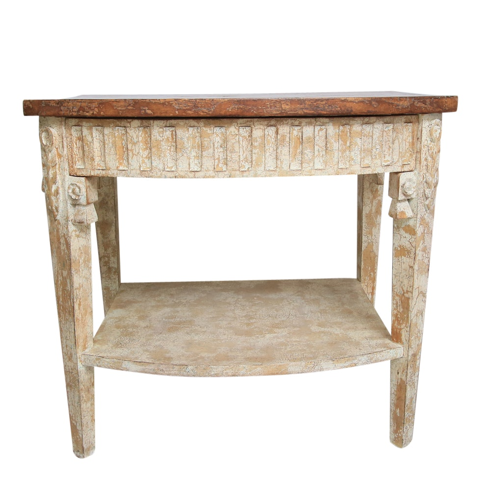Contemporary Carved and Distressed Wood Side Table
