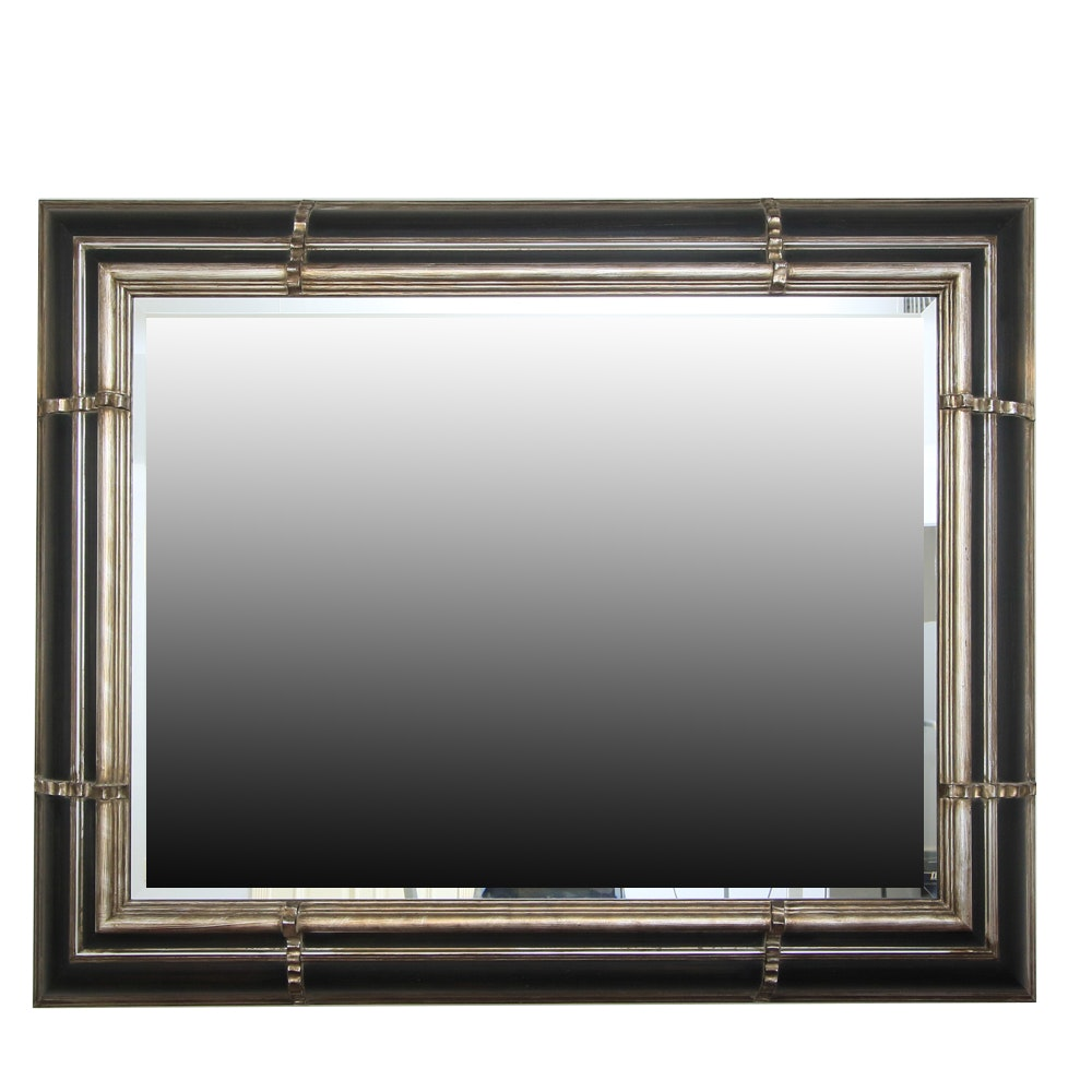 Oversized Mirror with Black and Silver Tone Frame