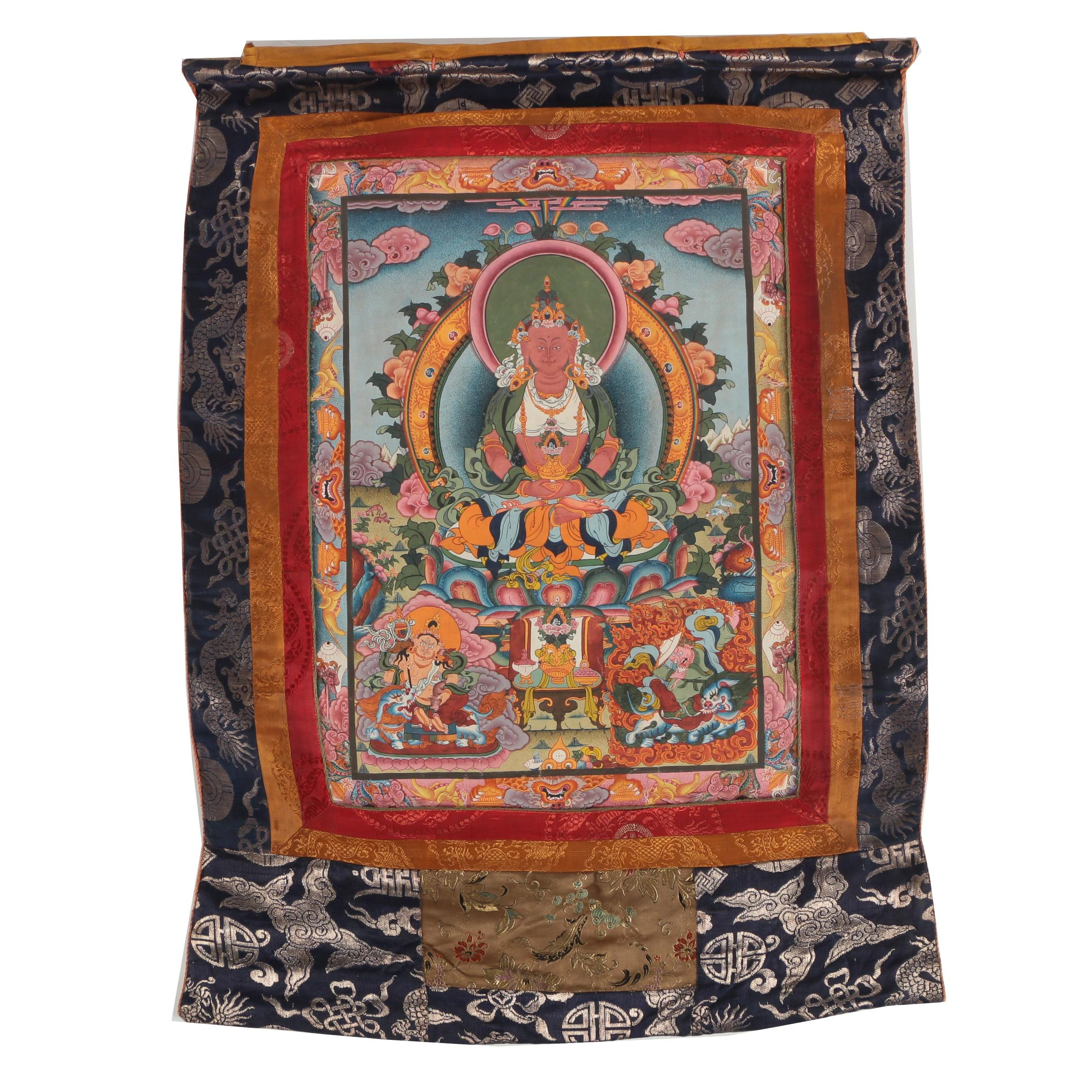 Hand-Painted Tibetan Buddhist Thangka of Amitabha