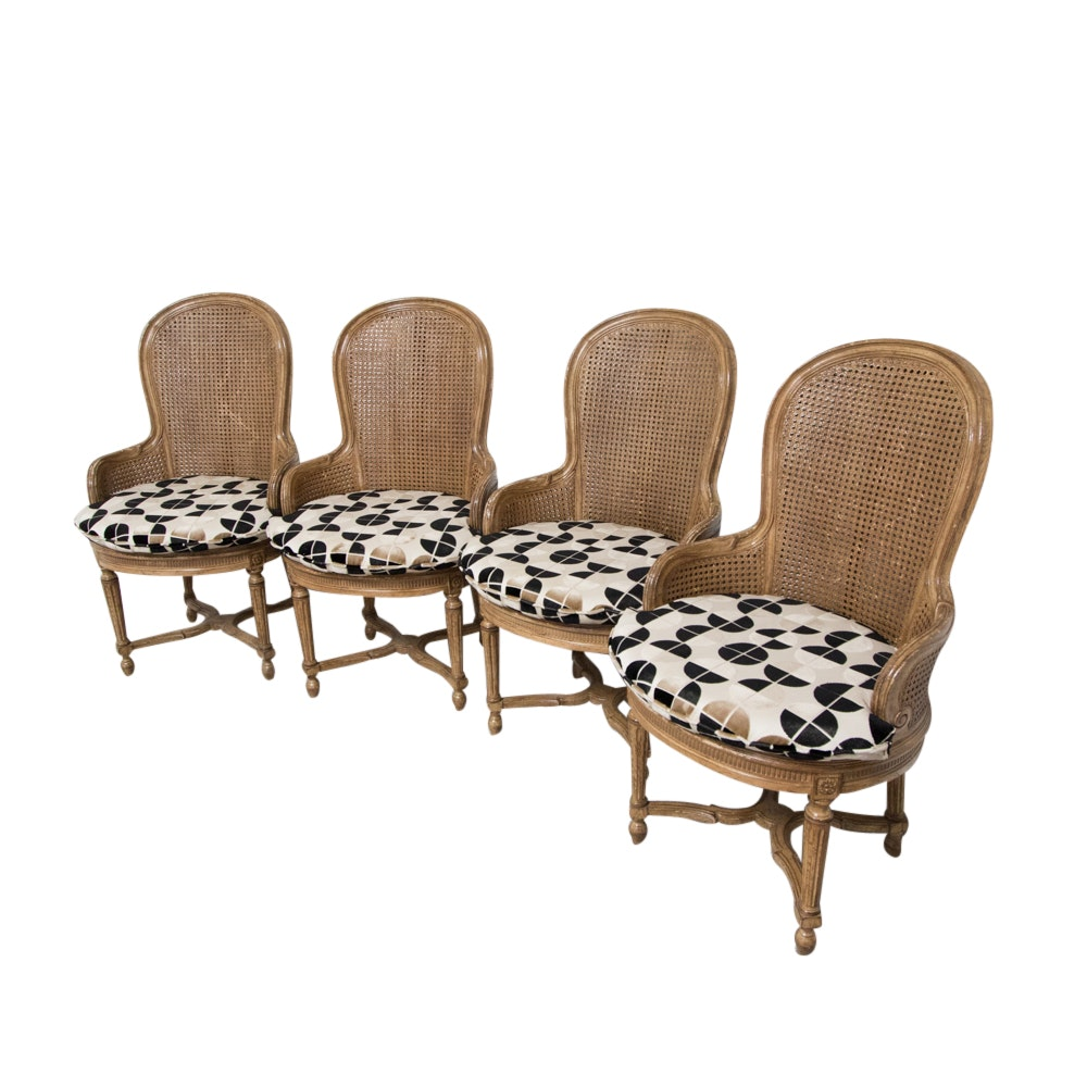 Four Vintage Louis XVI Style Caned Bergere Chairs