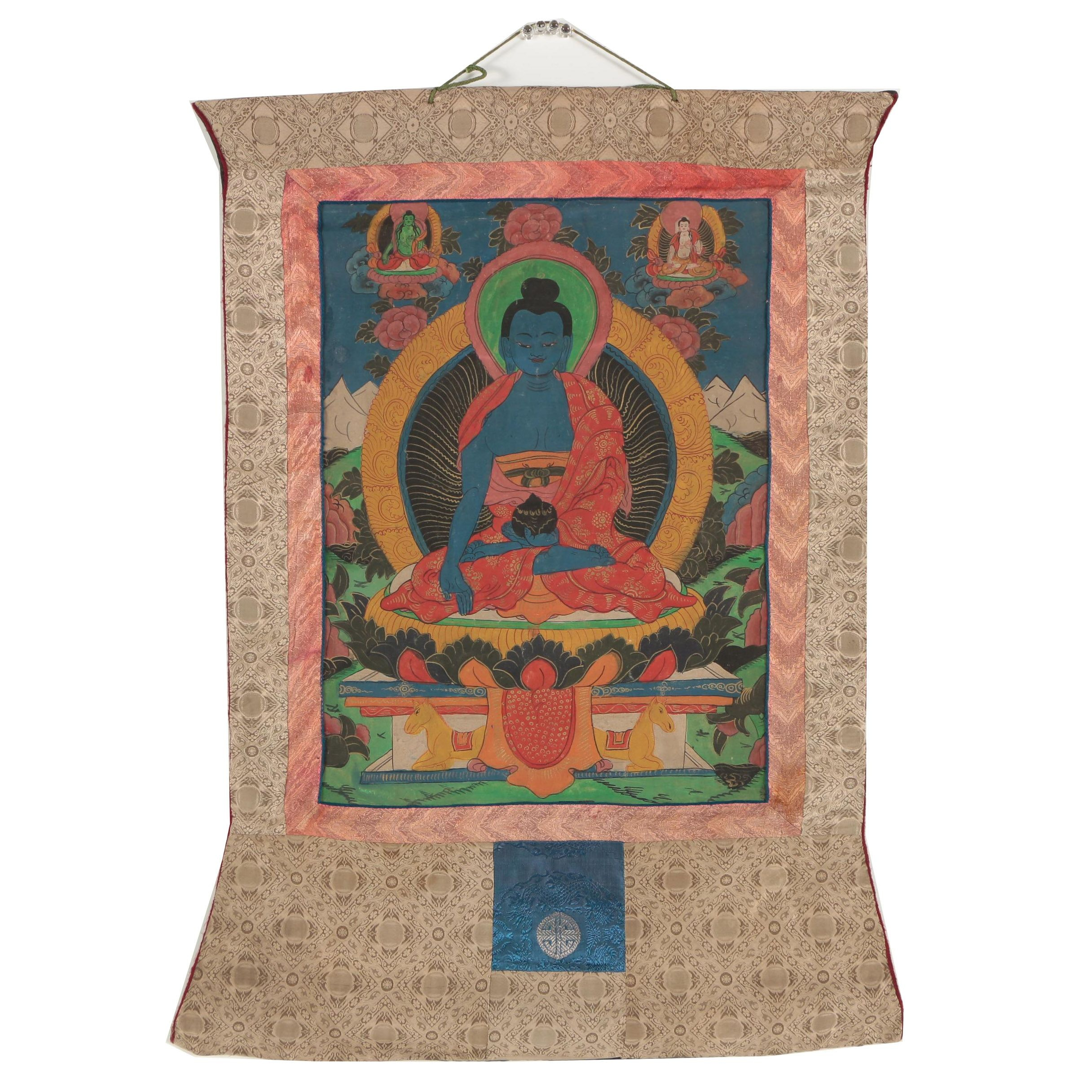 Hand-Painted Tibetan Buddhist Thangka of Aksobhya