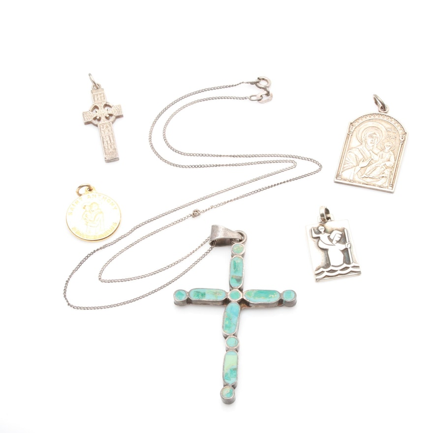Sterling silver inlaid stone cross pendant necklace and religious sterling silver inlaid stone cross pendant necklace and religious medal pendants aloadofball Image collections