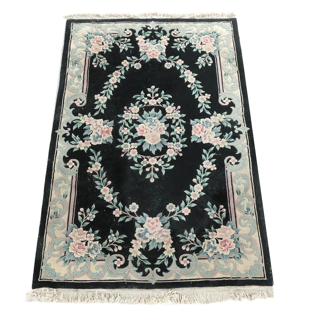 Hand-Knotted Carved Chinese Savonnerie Style Wool Area Rug