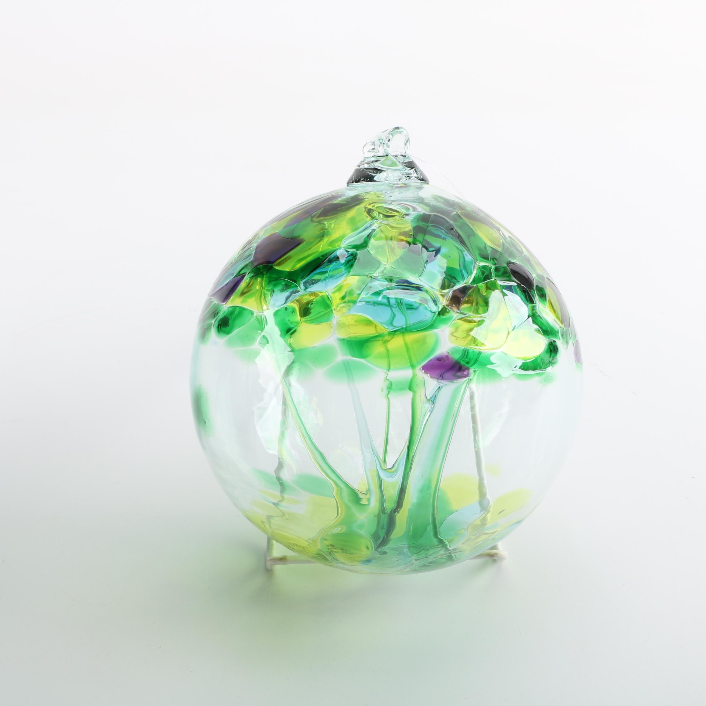 """Stephen Kitras """"Spring"""" Art Glass Bauble"""