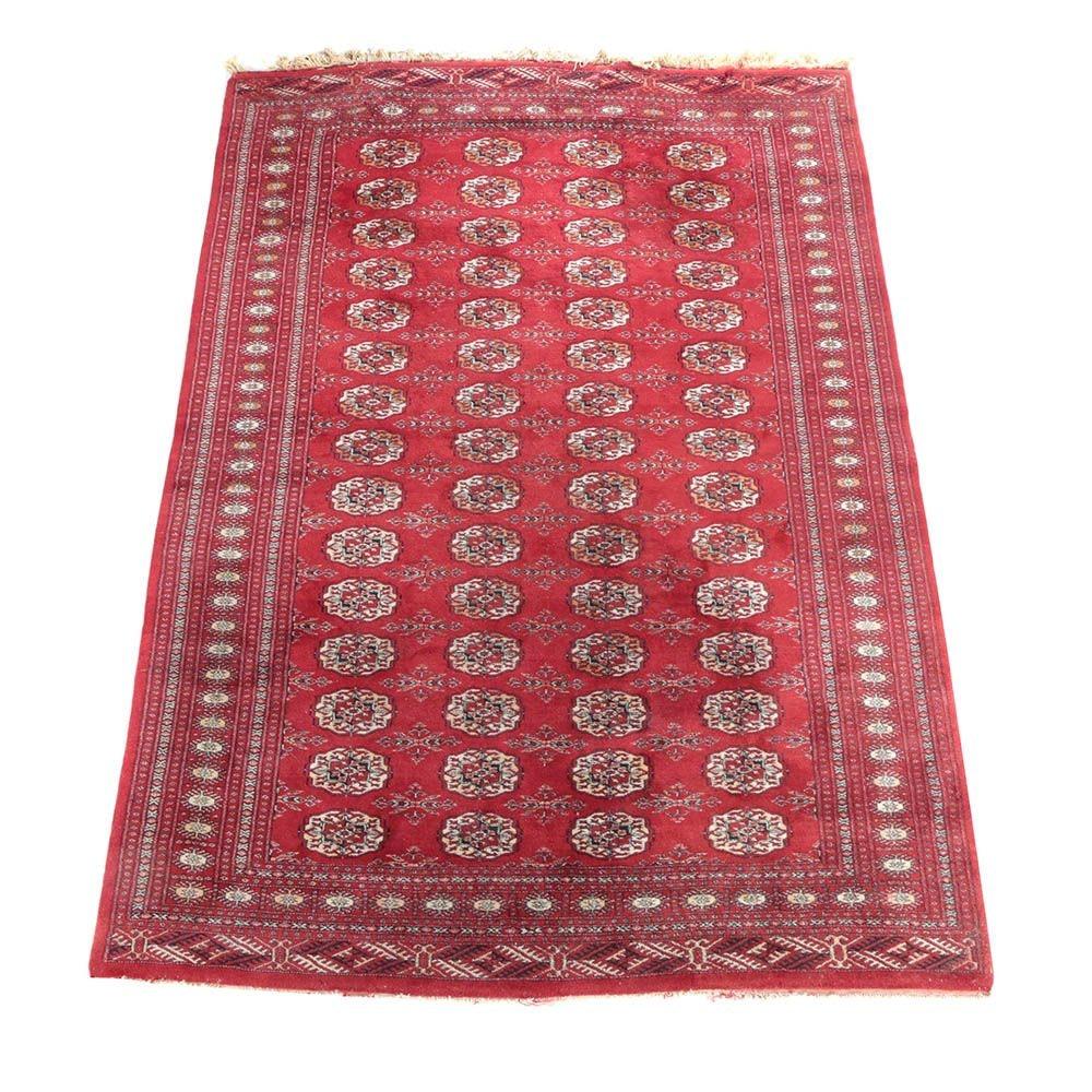 """Hand-Knotted Pakistani """"Mori"""" Bokhara Wool Area Rug"""