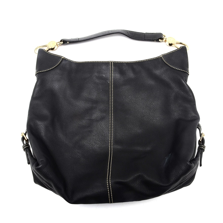 de799bcc2268 Dooney   Bourke Black Pebbled Leather Hobo Handbag   EBTH