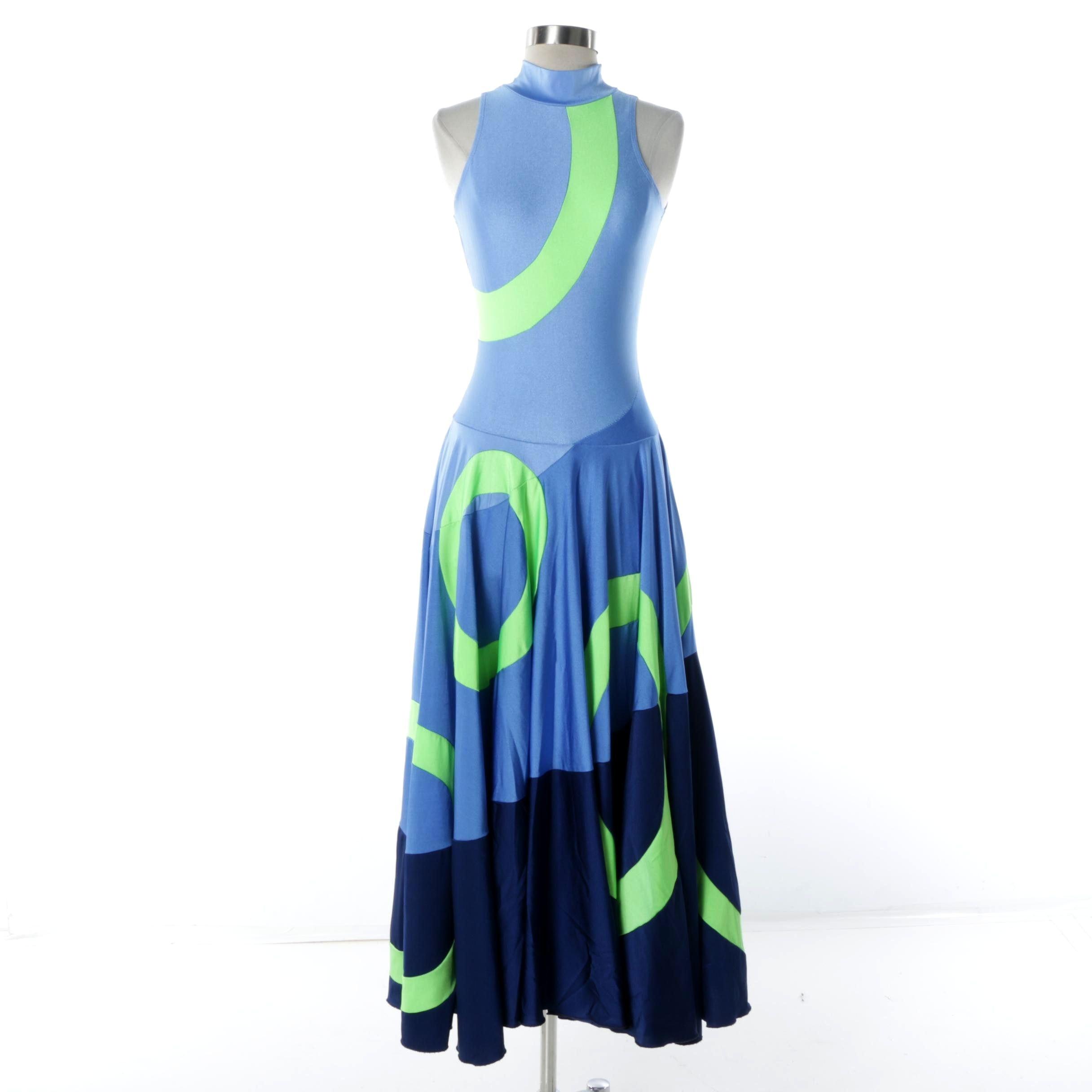 Vintage Green and Blue Lycra Dance Dress