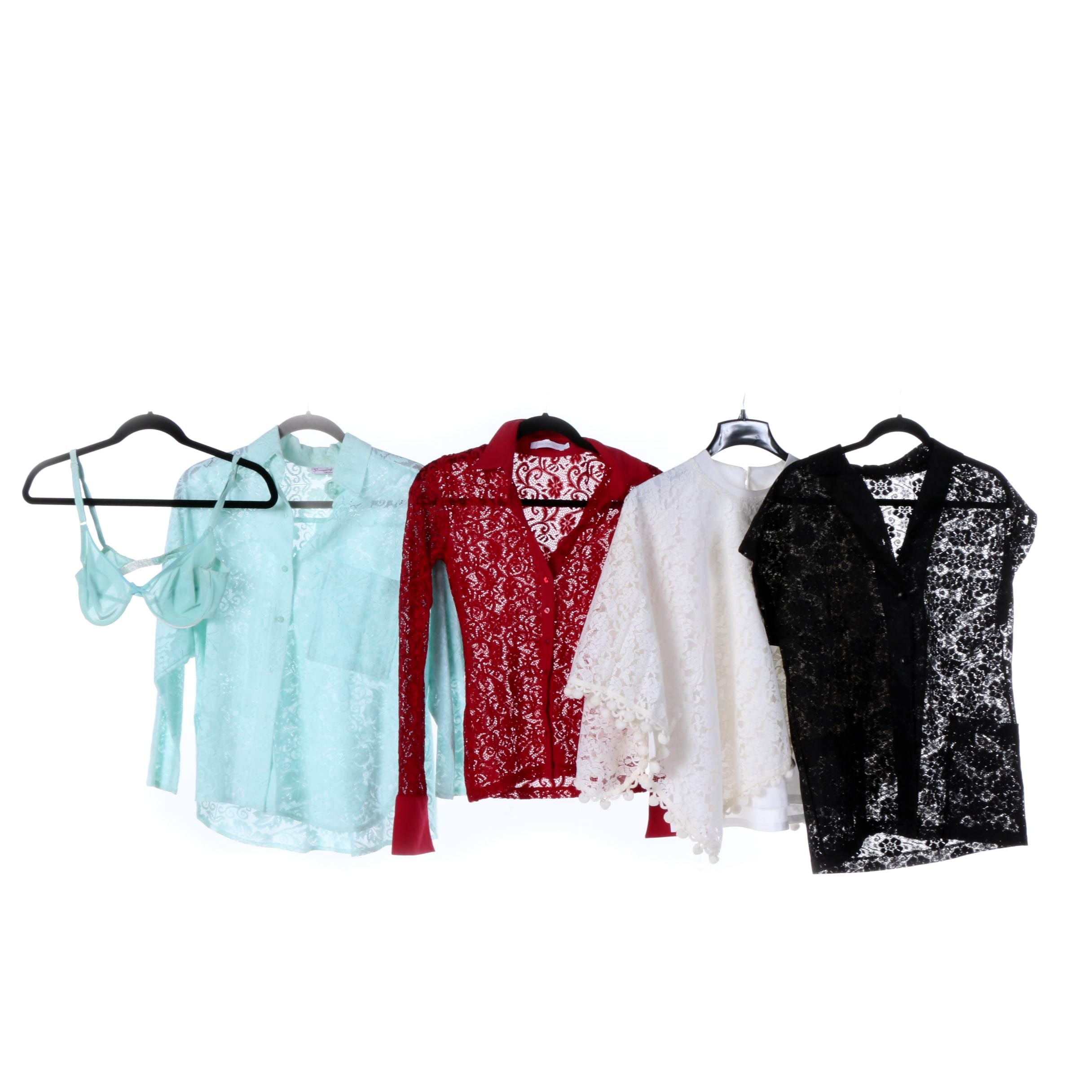 Vintage and Contemporary Lace and Crochet Blouses, Including Anne Fontaine