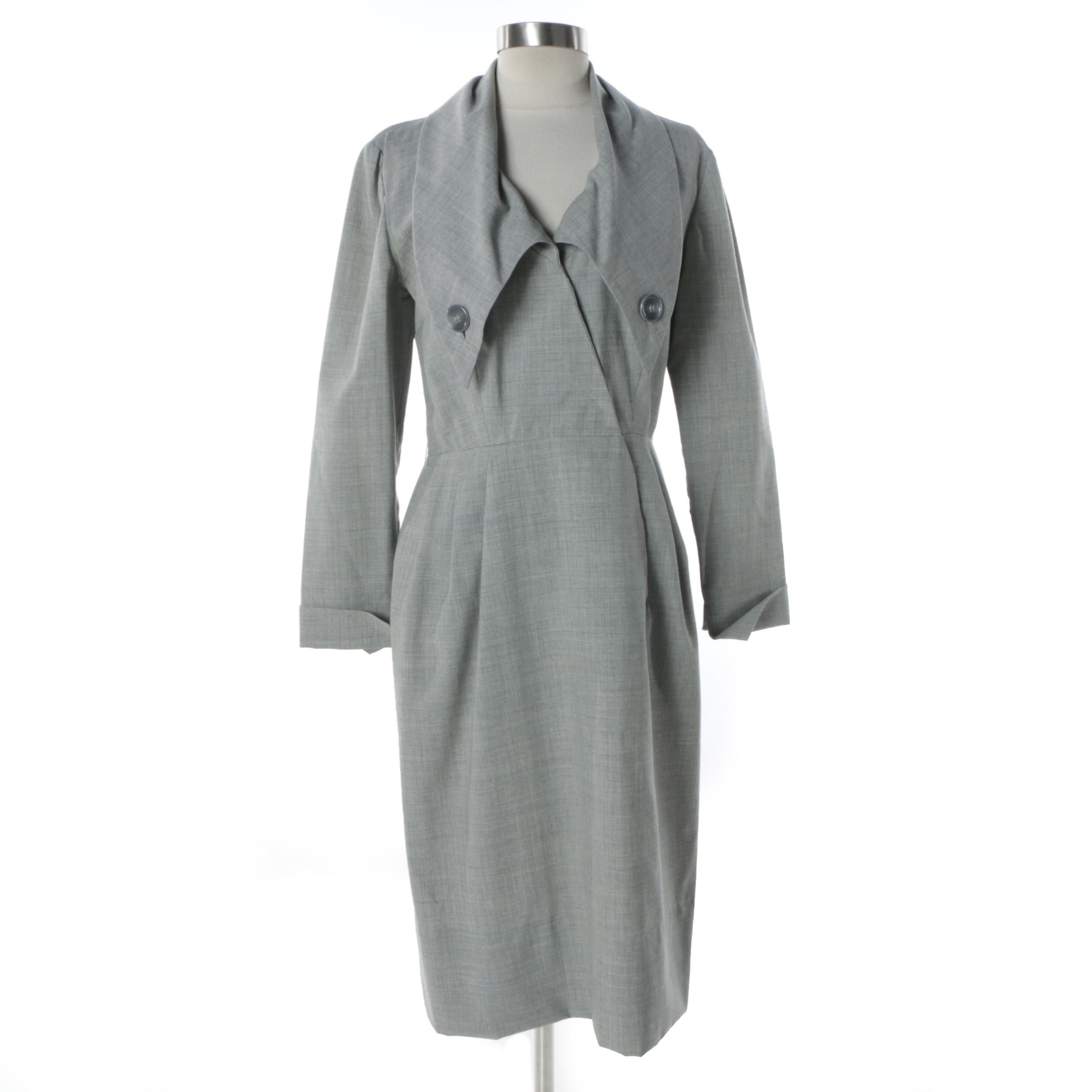 1970s Vintage Christian Dior Grey Dress with Plunging Collar and Oversized Lapel