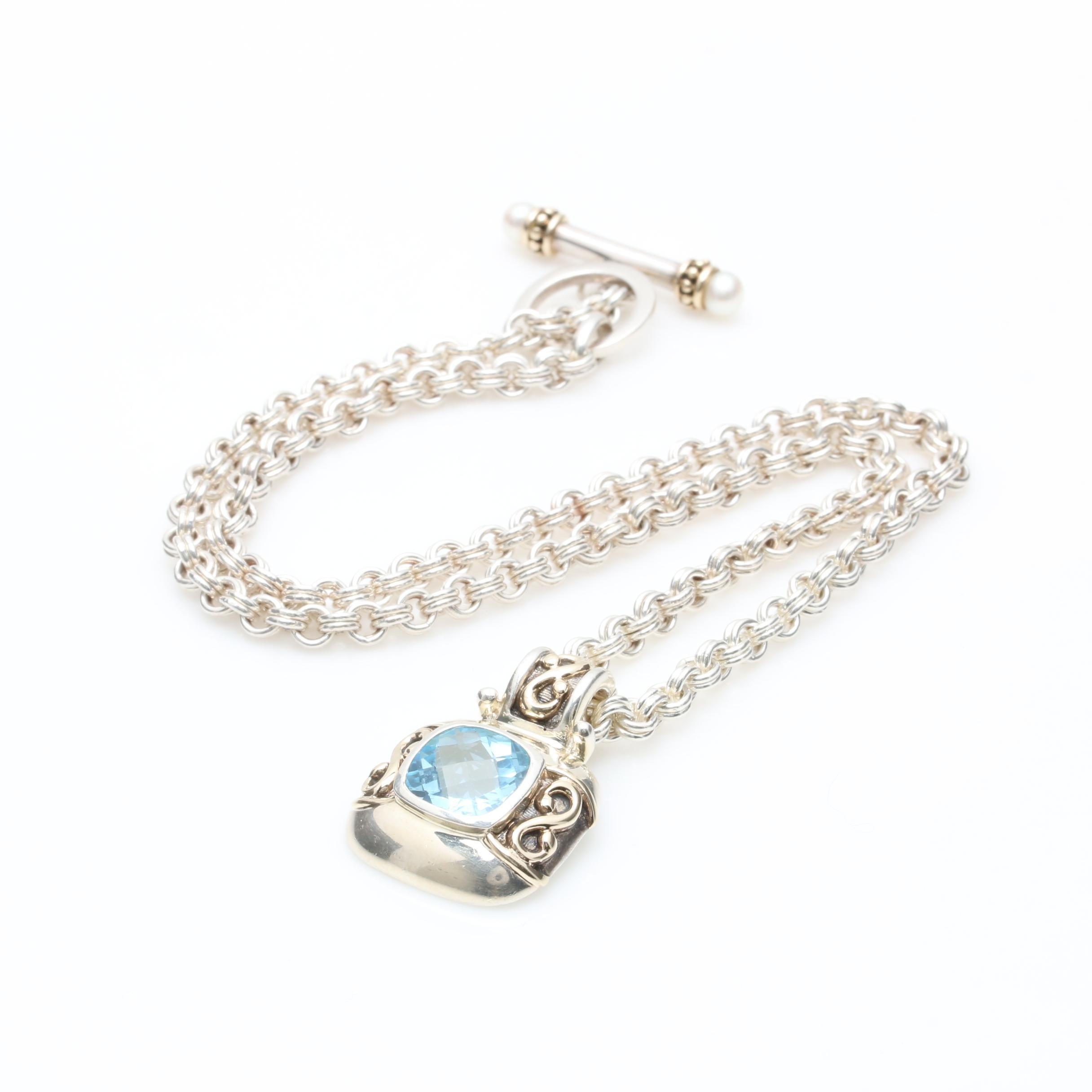 Sterling Silver Topaz and Pearl Pendant Necklace with 14K Yellow Gold Accents