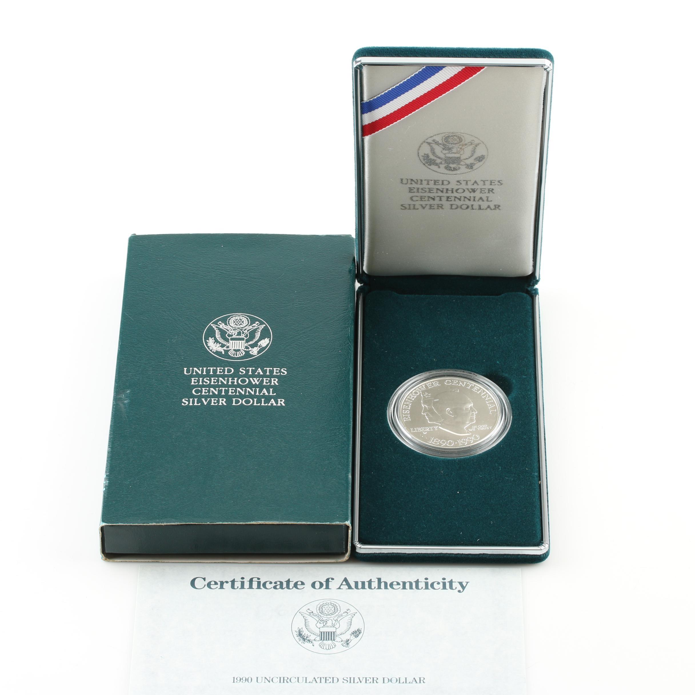 1990-W Eisenhower Centennial One Dollar Silver Coin