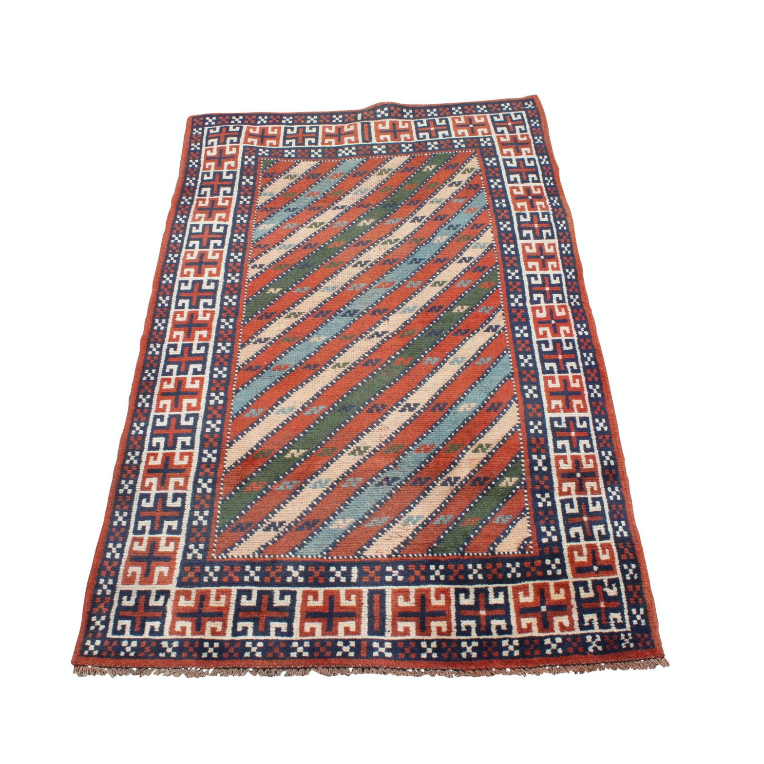 Vintage Hand-Knotted Persian Qashqai Wool Are Rug